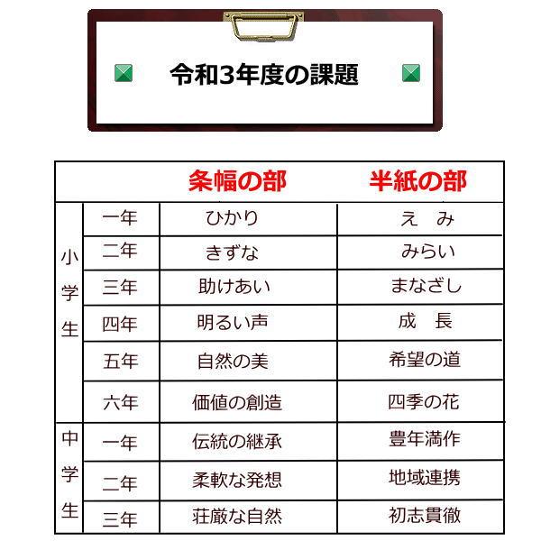 3年度JA共済書道コンクール作品用書道半紙は野菊がお勧め